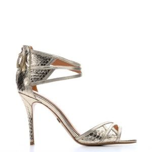 Badgley Mischka platino leather and snakeskin heel